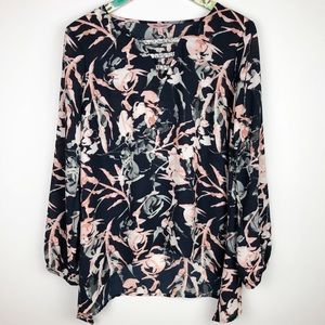 Juicy Couture Navy Floral Long Sleeve Beaded